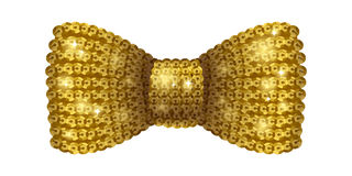 Golden sequins bow tie. Glamourous glitter formal wear. Decoration element Stock Photos
