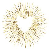 Golden sequins glitter background with heart. Golden sequins glitter round background with heart template. Good for luxury poster banner advertising design Royalty Free Stock Photo