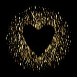 Golden sequins glitter background with heart. Golden sequins glitter round background with heart template. Good for luxury poster banner advertising design Royalty Free Stock Image