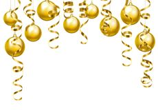 Serpentine streamers border. Golden serpentine streamers border isolated on white background Stock Photography