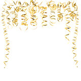 Golden serpentine streamers isolated on white Royalty Free Stock Images