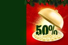 Golden service tray revealing green 50% percents. Symbol and elegant pearls stock illustration