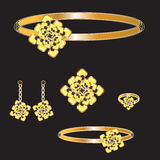 Golden set royalty free illustration