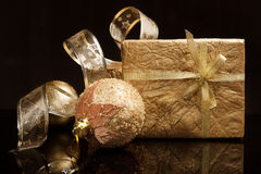 Golden set of Christmas decorations Stock Photo