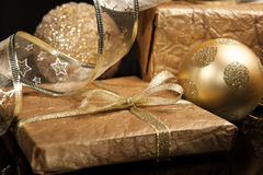 Golden set of Christmas decorations Royalty Free Stock Photography