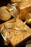 Golden set of Christmas decorations Royalty Free Stock Photos