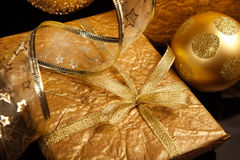 Golden set of Christmas decorations Royalty Free Stock Photo