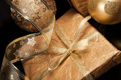 Golden set of Christmas decorations over black background Royalty Free Stock Photography
