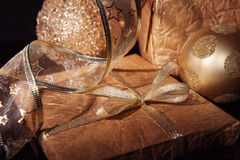 Golden set of Christmas decorations over black background Royalty Free Stock Images