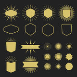 Golden set of empty design elements on black background Royalty Free Stock Images