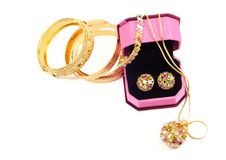 Golden set with gems Stock Photography