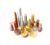 Golden set for make-up stock images
