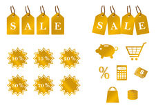 Golden set of sale icons Royalty Free Stock Image