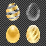 Golden set striped, glossy and transparent eggs. Vector illustration for Easter Royalty Free Stock Photos