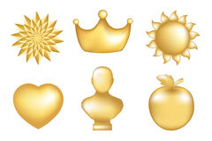 Golden Set. Vector. Set Of  Golden Icons, Isolated On White Stock Photo