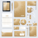 Golden set of vector corporate identity template. Modern business stationery mock-up. Medical branding design. Molecule Royalty Free Stock Photo