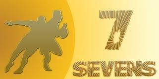 Golden Sevens Rugby Banner on Gold. En Background Stock Photography