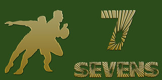 Golden Sevens Rugby Banner on Green. Background Stock Photos