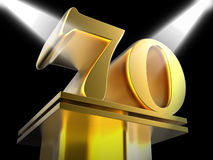 Golden Seventy On Pedestal Means Honourable Royalty Free Stock Photos