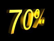 Golden seventy percent on black background 3d render. Sales financial concept royalty free illustration