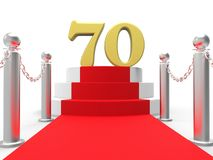 Golden Seventy On Red Carpet Shows Celebrities Stock Photo