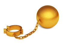 Golden shackles isolated. On the white background Royalty Free Stock Photography