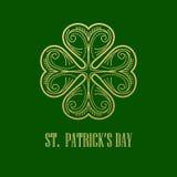 Golden Shamrock. Patrick day simbol. Vector illustration Stock Photo
