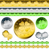Golden shamrock token coins Stock Photo
