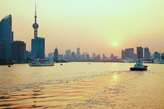 Golden Shanghai. The famous Shanghai skyline at Pudong, filmed from the Bund at sunset Royalty Free Stock Images