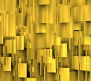 Golden shapes in vertical 3d comosition Stock Image