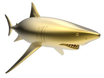 Golden shark. 3D rendered illustration of a golden shark. The shark is  on a white background with no shadows Stock Images
