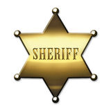 Golden Sheriff Badge. Golden Sheriff Star - on white background Royalty Free Stock Images