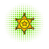 Golden sheriff star badge icon, comics style Stock Photography