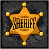 Golden sheriff star badge vector illustration on Royalty Free Stock Image