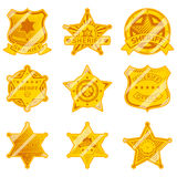 Golden sheriff star badges Royalty Free Stock Images