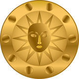 Golden shield. Round gold shield with the image of a face in the center Stock Photos