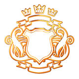 Golden Shield. Golden Coat Of Arms With Shield stock illustration