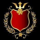Golden shield. Red shield design with golden frame Stock Images