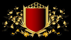 Golden shield. Red shield with golden frame Stock Photography