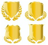 Golden shield. With laurel wreath Royalty Free Stock Image