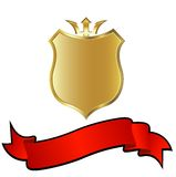 Golden shield. And red ribbon Stock Photos