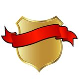 Golden shield. With red ribbon Royalty Free Stock Photo
