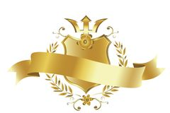 Golden shield. And ribbon; for your project Royalty Free Stock Images