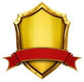Golden Shield And Ribbon Stock Image