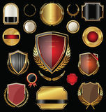 Golden shield, badges, labels and laurels Royalty Free Stock Photography