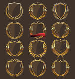 Golden shield collection Stock Photo