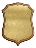 Golden shield diploma in wooden frame isolated. On white background Royalty Free Stock Image