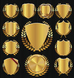 Golden shield and laurel wreath collection Royalty Free Stock Photo