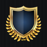 Golden Shield With Laurel Wreath. Vector Illustration Stock Photography