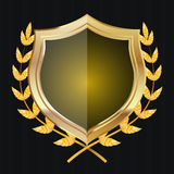 Golden Shield With Laurel Wreath. Vector Illustration.  Royalty Free Stock Images